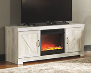 Ashley Bellaby Whitewash LG TV Stand with Fireplace Insert Glass/Stone