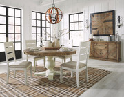 Ashley Grindleburg Light Brown 6 Pc. Round  Table & 4 Upholstered Side Chairs