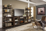Ashley Starmore Brown Entertainment Center XL TV Stand & 2 Piers with Fireplace Insert Infrared