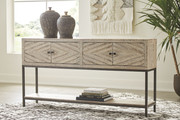 Ashley Roanley Distressed White Console Sofa/Couch Table