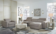 Ashley Mabton Gray LAF Zero Wall Power Recliner, Armless Chair, RAF Press Back Power Chaise Sectional & Power Recliner/ADJ HDRST