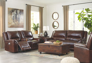 Ashley Catanzaro Mahogany 2 Seat Power Reclining Sofa/Couch ADJ HDRST, Power Reclining Loveseat/CON/ADJ HDRST & Power Recliner/ADJ HDRST