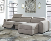 Ashley Mabton Gray LAF Zero Wall Power Recliner, Armless Chair & RAF Press Back Power Chaise Sectional