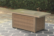 Ashley Beachcroft Beige Rectangular Fire Pit Table