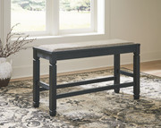 Ashley Tyler Creek Antique Black Double Counter Upholstered Bench (1/CN)
