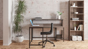 Ashley Arlenbry Gray L-Desk with Storage, Bookcase & Swivel Desk Chair