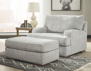Ashley Mercado Pewter Chair and a Half with Ottoman