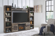 Ashley Derekson Multi Gray Entertainment Center LG TV Stand, 2 Piers, Bridge with Fireplace Insert Infrared