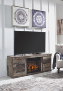Ashley Derekson Multi Gray Entertainment Center LG TV Stand with Fireplace Insert Infrared