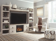 Ashley Willowton Whitewash Entertainment Center LG TV Stand, 2 Piers, Bridge with Fireplace Insert Infrared