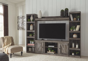 Ashley Wynnlow Gray Entertainment Center LG TV Stand, 2 Piers & Bridge
