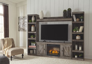 Ashley Wynnlow Gray Entertainment Center LG TV Stand, 2 Piers, Bridge with Fireplace Insert Infrared