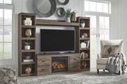 Ashley Trinell Brown Entertainment Center LG TV Stand, 2 Piers, Bridge with Fireplace Insert Infrared