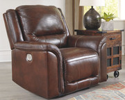Ashley Catanzaro Mahogany Power Recliner/ADJ Headrest