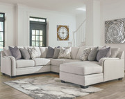 Ashley Dellara Chalk 4-Piece Sectional with Chaise