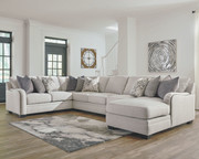 Ashley Dellara Chalk 5-Piece Sectional with Chaise