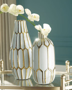 Ashley Mohsen Gold Finish/White Vase Set (2/CN)