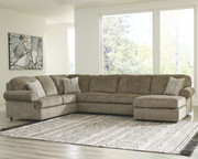 Ashley Hoylake Chocolate 3 Pc.- Sectional with Chaise