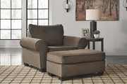 Ashley Nesso Walnut Chair and a Half with Ottoman