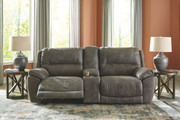 Ashley Cranedall Quarry Left Arm Facing Zero Wall Power Recliner, Console with Storage, Right Arm Facing Zero Wall Power Recliner