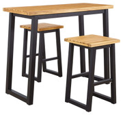Ashley Town Wood Brown/Black Counter Table Set (3/CN)