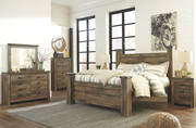 Ashley Trinell Brown 9 Pc. Dresser, Mirror, Chest, King Poster Bed & 2 Nightstands