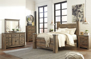 Ashley Trinell Brown 8 Pc. Dresser with Fireplace Option, Mirror, Chest, King Poster Bed & Nightstand