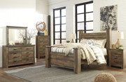 Ashley Trinell Brown 9 Pc. Dresser, Mirror, Chest, Queen Poster Bed & 2 Nightstands