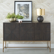 Ashley Elinmore Brown/Gold Finish Accent Cabinet