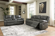 Ashley Calderwell Gray 2 Pc. Reclining Sofa, Double Reclining Loveseat with Console