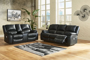 Ashley Calderwell Black 2 Pc. Reclining Power Sofa, Double Reclining Power Loveseat with Console