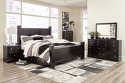 Ashley Mirlotown Almost Black 7 Pc. Dresser, Mirror, King Poster Bed with Storage