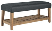 Ashley Cabellero Charcoal/Brown Upholstered Accent Bench