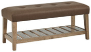 Ashley Cabellero Brown Upholstered Accent Bench