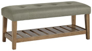 Ashley Cabellero Gray/Brown Upholstered Accent Bench