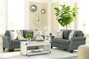 Ashley Alessio Charcoal 5 Pc. Sofa, Loveseat, Bayflynn Lift Top Cocktail Table, 2 End Tables