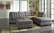 Ashley Maier Charcoal 3 Pc. Left Arm Facing Sofa, Right Arm Facing Corner Chaise Sectional, Accent Ottoman