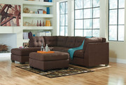Ashley Maier Walnut 3 Pc. Left Arm Facing Corner Chaise, Right Arm Facing Sofa Sectional, Accent Ottoman