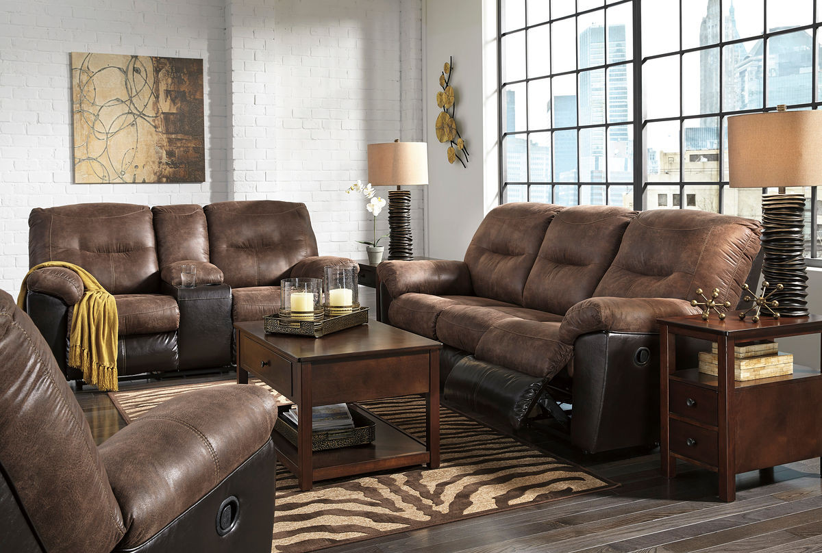 Astonishing Ashley Follett Coffee Reclining Sofa Couch Double Reclining Loveseat With Console Rocker Recliner Beutiful Home Inspiration Cosmmahrainfo