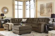 Ashley Accrington Earth Left Arm Facing Corner Chaise, Right Arm Facing Sofa/Couch Sectional & Accent Ottoman