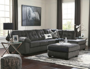 Ashley Accrington Granite Left Arm Facing Sofa/Couch, Right Arm Facing Corner Chaise Sectional, Accent Ottoman & 2 Coylin End Tables