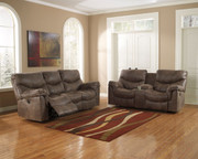 Ashley Alzena Gunsmoke Reclining Sofa/Couch & Double Rec Loveseat with Console
