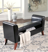 Ashley Benches Brown Upholstered Storage Bench