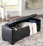 Ashley Benches Black Upholstered Storage Bench
