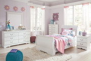 Ashley Anarasia White 5 Pc. Dresser, Mirror & Twin Sleigh Bed