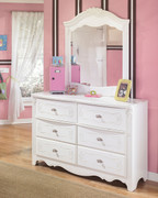 Ashley Exquisite White Dresser & Mirror