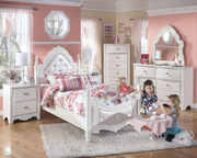 Ashley Exquisite White 5 Pc. Dresser, French Style Mirror, Chest & Twin Padded Poster Bed