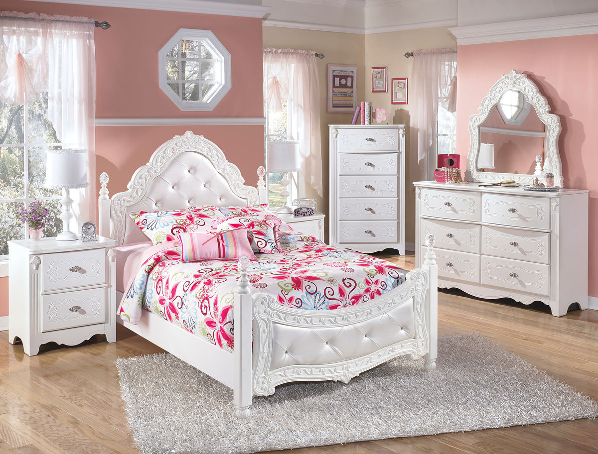 Ashley Exquisite White 4 Pc. Dresser, French Style Mirror & Full ...