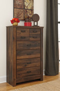 Ashley Quinden Dark Brown Five Drawer Chest