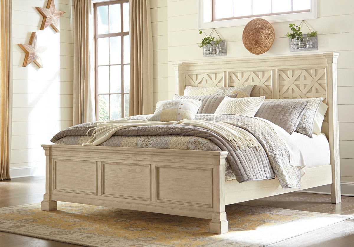 Outstanding Ashley Bolanburg White Queen Panel Bed Beutiful Home Inspiration Ommitmahrainfo